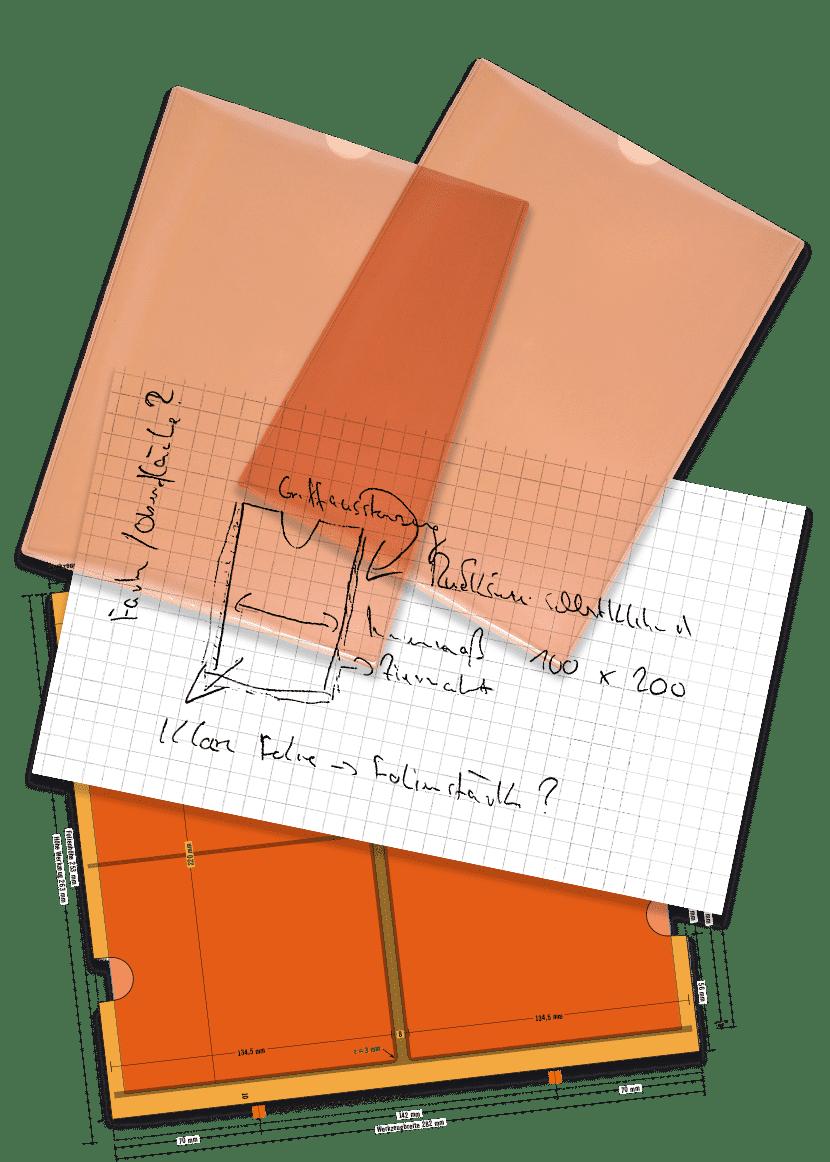 Sonderanfertigung Skizze Werkzeugzeichnung Hüllen