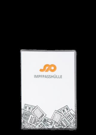 Ausweishülle Impfpass 3-teilig, Vinyl transparent mit Quertasche und Digitaldruck