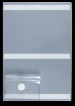 ESD Sichthülle, A4 milchig-transparent mit Visitenkartenbox und Klebestreifen
