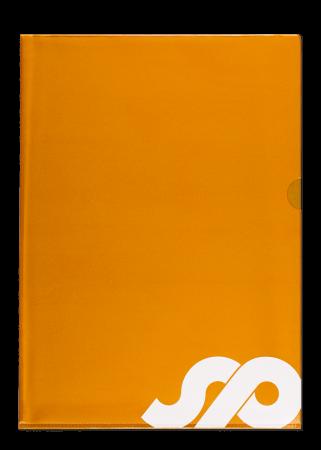 Sichthülle A4, Vinyl orange-transparent mit Griffaussparung