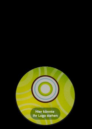 Unterleger Getränkeuntersetzer rund, Vinyl mit Schaumfolie verschweißt mit Offsetdruck